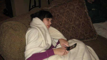 Alexandra falling asleep while texting!